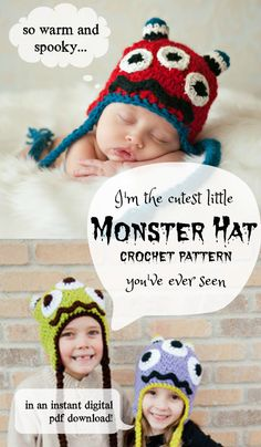 Monster Hat Crochet Pattern. Such a fun idea for a costume for a kid who won't wear a costume, or just a fun hat for a fun kid! #instant #ad pdf #download #crochet #pattern #monster #halloween #gift #etsy