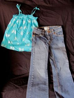 The-Childrens-Place-Blue-Metallic-Silver-Butterfly-Top-Blue-Bootcut-Jeans-4T