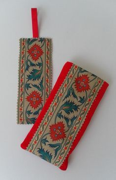 Reduced! Glasses case and bookmark set, red with appliquéd panel £7.50