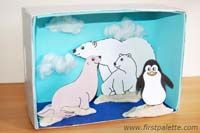 Craft a fun polar shoebox diorama while learning all about Arctic and Antarctic animals and their natural habitats. School Projects, Projects For Kids, Art Projects, Fun Crafts For Kids, Craft Kids, Arctic Habitat, Diorama Kids, Artic Animals, Animal Habitats