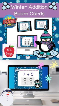 My Winter Addition Digital Task Card set includes 40 task cards which are accessed via Boom Learning. Each digital task cards focuses basic addition facts 0-20. All task cards are accented with bright colors and winter themed graphics. #teacherspayteachers #tpt #boomcards #boomlearning #winter