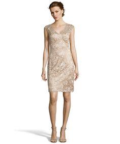 Sue Wong Beige And Gold Metallic Lace Open Back Sheath Dress