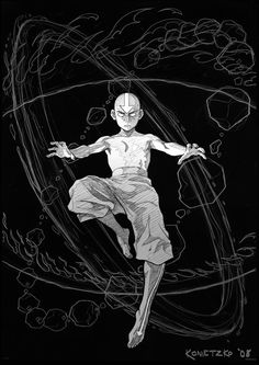 Rough sketch that Avatar co-creator Bryan Konietzko did for one of the ATLA DVD covers back in '08.