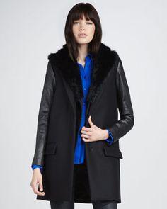 Theory Knit & Fur Vest, Leather-Sleeve Coat & Basic Silk Blouse