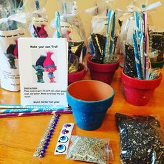 Make a Troll Goody Bags. Thought of this yesterday for my daughters 8th birthday party. We were watching to the movie Trolls.