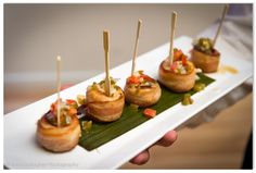 Bacon Wrapped Scallops. YUM. Bacon Wrapped Scallops, Caramel Apples, Denver, Desserts, Wedding, Food, Tailgate Desserts, Mariage, Meal