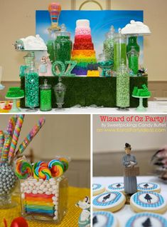 Wizard of Oz themed birthday party wedding rainbow red Dorothy green kids