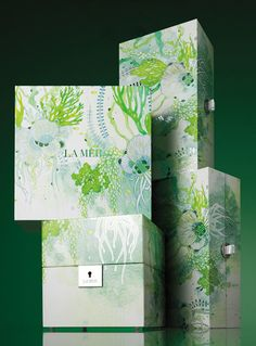 Crème de la Mer Packaging by Yellena James Yellena James, Natural Structures, Id Design, Advertising Design, Watercolor Flowers, Packaging Design, Cool Designs, Card Making, Gift Wrapping