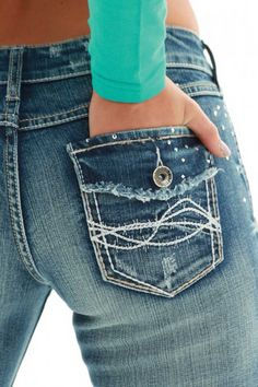Saddle Bling Jeans! Cowgirl Tuff Women's Saddle Ready Boot Cut Jeans
