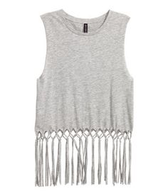 Short vest top in jersey with a print motif on the front, long fringes at the hem and raw edges around the armholes. Fringe Vest, H&m Online, Fashion Online, Kids Fashion, Women Wear, Clothes For Women, Lady, Casual, How To Wear