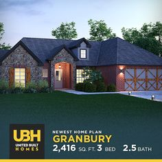 With its modern mix of brick and stone, we're proud to show off our newest home plan – The Granbury! → #UBH #WeBuildForLife