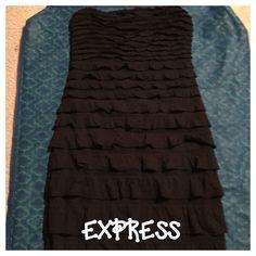 Express Black Ruffle Strapless Dress
