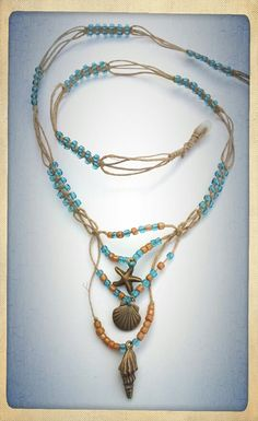 ···{Ocean inspired Necklace}··· Check out this unique necklace by me, Amanda Made @ Etsy... This necklace is designed using hemp in switch knots with sections of ocean water blue bead... https://www.etsy.com/listing/98034276/beautiful-long-necklace-made-with-hemp