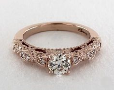 .5ct Round Vintage Inspired Engagement Ring in Rose Gold in 360-HD SuperZoom