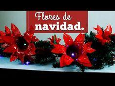 CÓMO HACER UNAS FLORES NAVIDEÑAS // MATERIAL RECICLADO //MAKING SOME FLOWERS CHRISTMAS // RECYCLED - YouTube