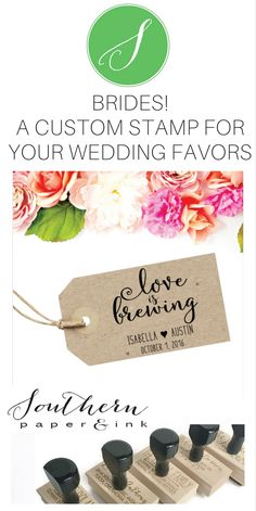 A custom coffee sleeve stamp is perfect to personalize your wedding. You can use this stamp as the finishing touch to your wedding festivities! Shop Southern Paper & Ink. $24.95