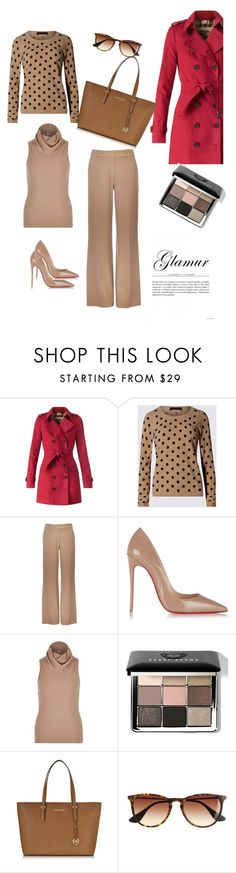 """Glamur"" by regnovo on Polyvore featuring moda, Burberry, M&S Collection, Wallis, Christian Louboutin, River Island, Bobbi Brown Cosmetics, Michael Kors e J.Crew"