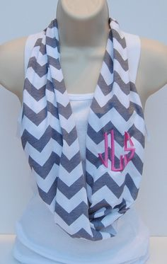 Monogrammed Chevron Infinity Scarf. That just put all my favorite words together.