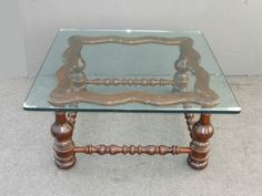 """Large 40"""" x 40"""" Vintage Spanish Style Turned Wood Base COFFEE TABLE Glass Top"""