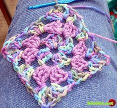 Вяжем крючком бабушкин квадрат (+ Видео урок)