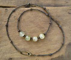 Prehnite Necklace by ArtifactsEtCetera