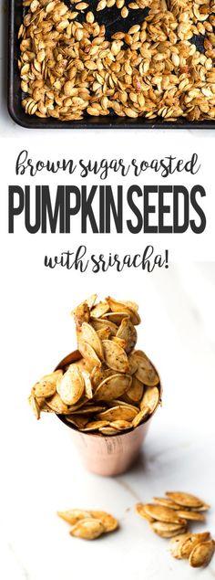 brown sugar roasted pumpkin seeds with sriracha caramel coating from ONEarmedMAMA.com