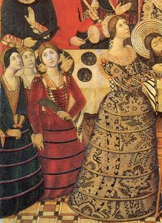 """1470s. This image is notorious representing Juana of Portugal, wife of Enrique IV of Castilla who invented that skirt with """" verdugados """" to hide her pregnancy from her relationship with Pedro of Castilla and Fonseca , which twins were born in 1471 .This fashion spread to Italy in 1480 and 90. The flaring chemise sleeves of striped or embroidered fabric are uniquely Spanish at this time, but the small cap and wrapped braid of hair are common to both Spain and Italy."""