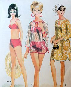 Bathing Suit and Cover-Up Pattern. 1960s McCall's