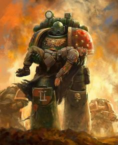 This is some damn good art BUT ITS NOT CANON! There's no way a dark angle would carry a wounded guardsman from battle! It's more likely he'd fill him full of plasma for watching the Dark Angels fight the fallen!