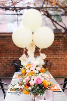 Colorful bridal shower table: http://www.stylemepretty.com/washington-dc-weddings/2015/06/15/bright-colorful-d-c-bridal-shower/ | Photography: Megan Chase - http://meganchasephotography.com/