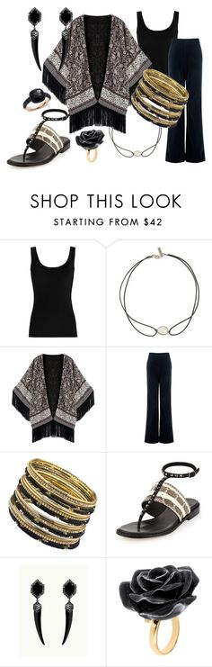 """""""Black Rose"""" by cindiawb ❤ liked on Polyvore featuring Twenty, Vanessa Mooney, AG Adriano Goldschmied, ABS by Allen Schwartz, Donald J Pliner, Nach Bijoux and Pomellato"""