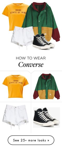 """good"" by manu74 on Polyvore featuring Miss Selfridge, GRLFRND and Converse"