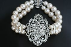 Double strand pearl Victorian style bridal bracelet $64.00