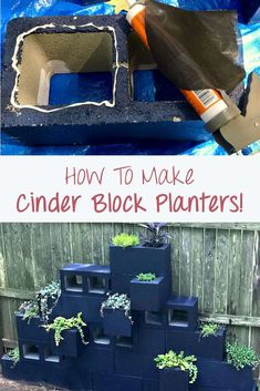 Make a cool vertical planter wall using cinder blocks! This is a detailed tutorial for those interested in their great yard and garden idea. They decorate a garden beautifully! Plantador Vertical, Vertical Planter, Cinder Block Walls, Cinder Block Garden, Garden Ideas With Cinder Blocks, Cinder Block Ideas, Building Raised Garden Beds, Diy Garden Projects, Diy Planters