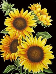 DIY diamond embroidery square diamond full diamond embroidery sunflower Painting home decoration gifts mural wall sticker Beads One Stroke Painting, Tole Painting, Fabric Painting, Painting & Drawing, Oil Painting Flowers, Painting Lessons, Art Floral, Sunflower Pictures, Sunflower Art