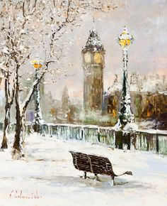 'December in London' by Gleb Goloubetski Oil on Canvas 80cm x 65cm
