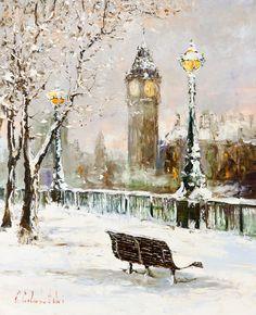 'December in London' by Gleb Goloubetski Oil on Canvas  80cm x 65cm