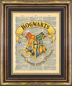 Harry Potter HOGWARTS crest house Print Vintage Dictionary Page Up Cycled on Etsy, $9.00