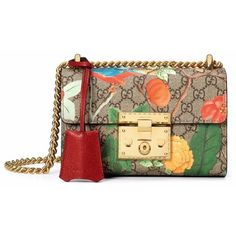 Gucci Tian GG Supreme Padlock Bag ($1,650) ❤ liked on Polyvore featuring bags, handbags, gucci purses, floral leather handbag, gucci handbags, brown purse e brown leather purse