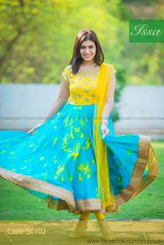 Yellow and blue floral combination cloth to make bottom gold lace stitching anarkali pattern