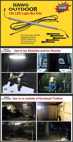 CRAZY light output for the price! HAWG Outdoor LED light bar kit for ice shacks and enclosed trailers.