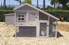 "Extreme Cape Cod Coop - $330  Build it your self!  The coop comes in 2 boxes with all the materials you need to put together.   It is very cute and affordable - and comes with a built in run.  We prefer chickens spend their day meandering in the garden - and the run is ideal for the times you go out of town.   The coop is all wood(Chinese Fir), stained and has a sturdy asphalt roof.  The coop holds 3-5 medium sized chickens.  Dimensions:  74"" x 32"" x 48 high."