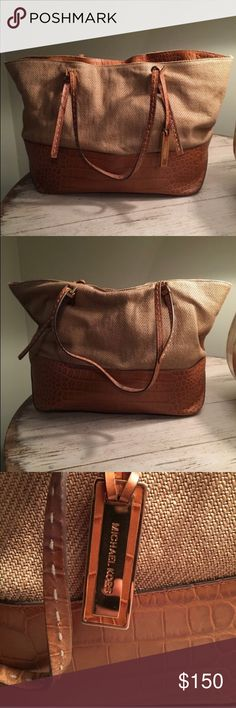 MK large burlap/leather tote bag Large MK bag! Perfect for a mom with kids or someone that just loves big purses! Great condition!! KORS Michael Kors Bags Totes