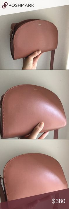 A.P.C. Half Moon Bag - Blush A.P.C. Half Moon (Sac Demi Lune) bag in warm blush color. Smooth leather with gold toned hardware. It's in pretty good condition, with the exception of a scratch near brand name. Minor scratches otherwise from normal wear. APC Bags Crossbody Bags