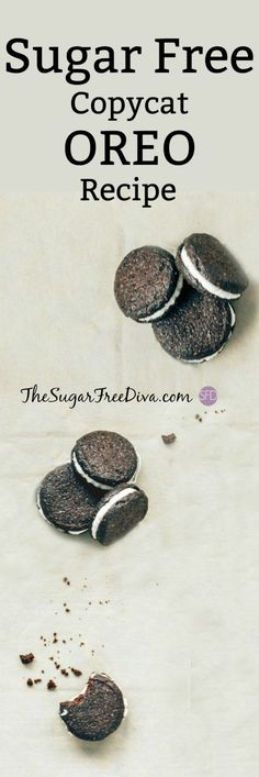 Free Copycat Oreo Cookies- this sugar free cookie recipe is the perfect sweet treat for fall, parties, dessert, Halloween, and just plain snacking on. They are really yummy too! Sugar Free Oreos, Sugar Free Cookie Recipes, Oreo Cookie Recipes, Sugar Free Cookies, Sugar Free Desserts, Oreo Cookies, Yummy Cookies, Fun Desserts, Delicious Desserts