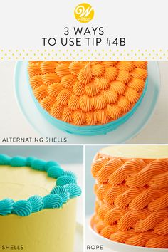 Learn how to use piping tip 4B to create several different buttercream designs! These cake designs are great for beginner decorators looking to create dimension and texture to their cake and cupcake creations! Color your buttercream to perfectly match your celebration and have fun experimenting with all of the different ways to use one piping tip! #wiltoncakes #cakes #cakedecorating #cakeideas #cakedesign #buttercreamcakes #tip4B #pipingtips #pipingideas #birthdaycake #buttercreamshells…