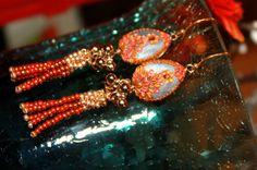 Handmade Seedbead Tassel gold beads and Clay floral by Peelirohini