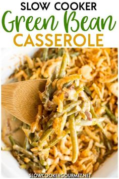 Bean Casserole is one of the quintessential Thanksgiving sides with many f. - Slow Cooker Gourmet Recipes -Green Bean Casserole is one of the quintessential Thanksgiving sides with many f. Crock Pot Slow Cooker, Slow Cooker Recipes, Gourmet Recipes, Cooking Recipes, Crockpot Meals, Vegetable Recipes, Diet Recipes, Recipies, Greenbean Casserole Recipe