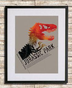 Jurassic Park A3 Poster Print by sanasini on Etsy, $18.00