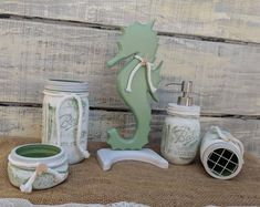 Seahorse & Ready to Ship now @ ApronStringsOwlLady Coastal Bathroom Decor, Nautical Bathrooms, Table Centerpieces, Table Decorations, Nautical Kitchen, Creative Christmas Gifts, Thing 1, Country Crafts, Desk Set
